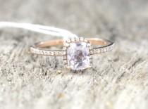 wedding photo - Certified 1.25 carat untreated peach champagne sapphire, rose gold, diamonds halo engagement ring 943p-JOAN