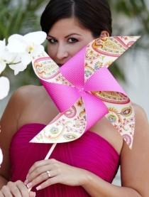 wedding photo - Custom Pinwheel Wedding Party Set of 4 Pinwheels and 4 Boutonnieres by Rule42
