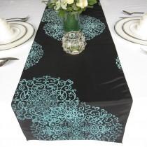 wedding photo - Black Aqua Swirly Love Flocked Damask Table Runner Taffeta Wedding Table Runner