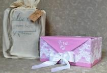 wedding photo - Christening gift baby box Name embroidery Personalized lace Fabric box Baptism gift embroidered name Storage box card box Lavender scent