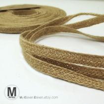 "wedding photo - 3/8""(10mm) 100% Natural Jute burlap hessian braided ribbon flat tape strap"