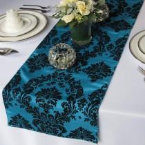 wedding photo - Victorian Peacock and Black Flocked Damask Table Runner Taffeta Wedding Table Runner