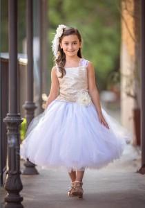 wedding photo - Gold Sequin Flower Girl Dress White Tulle Wedding Flower Girl Dress  All Sizes  Baby to Girls 10