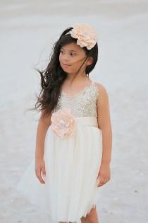 wedding photo - Gold Ivory Tulle  Flower Girl Dress Headband set, Gold sequin dress, Gold Ivory Wedding, Gold glitter dress,  Ivory tutu dress