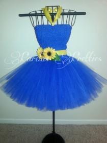 wedding photo - Country style tutu dress, sunflower tutu dress, royal blue tutu dress, yellow sunflowers!