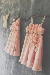 wedding photo - 2016 Mix and Match Coral Bridesmaid dress, Mismatch Empire Baby Flower Girl dress, A Line Short Chiffon Rosette dress (JK006/JK005)-Renzrags
