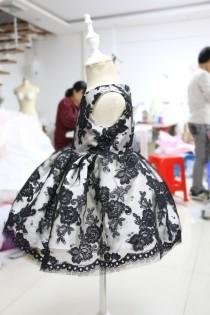 wedding photo - Baby Pageant Dress with Special Black Flower Lace, Birthday Dress for Toddlers, Newborn Party Dress, PD083-2