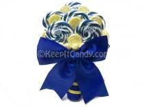 wedding photo - Royal Blue and Yellow Lollipop Bouquet, Candy Bouquet, Lollipop Bouquet, Royal Blue Wedding, Bridal Bouquet, Wedding Bouquet, Rehearsal