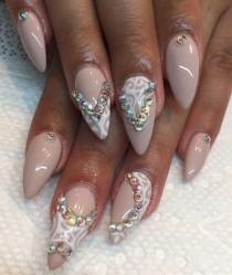 day 180 nude crystal nail art