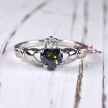 wedding photo - 925 Sterling Silver Claddagh Ring Womens Wedding Band Promise Ring Heart Shaped Rainbow Topaz CZ Irish Celtic Ring Friendship Heart Ring