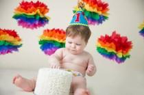wedding photo - Set of 6 Rainbow Handmade Tissue Paper Pom Poms / Rainbow Smash Cake Prop / Rainbow Party Decor