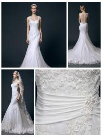 wedding photo - Straps Sweetheart Lace Appliques Illusion Back Mermaid Wedding Dress