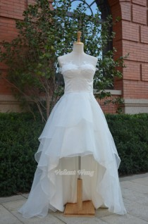 wedding photo - Hi-low Style Ivory Lace Sweetheart Neckline Organza Wedding Dress Corset Back