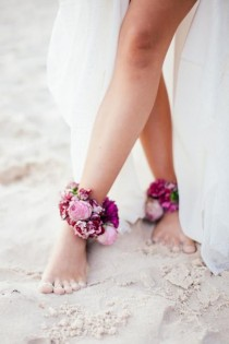 wedding photo - Floral Bridal Anklet