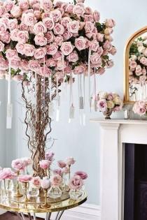 wedding photo - Rose Tree Hanging Escort Cards Pink Wedding Theme (BridesMagazine.co.uk)