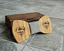 wedding photo - Superman Bow Tie Groomsmen gift Superman gift Valentines gifts for him Wedding Gifts for Mens Wooden Bow Tie Boyfriend gift Fathers day