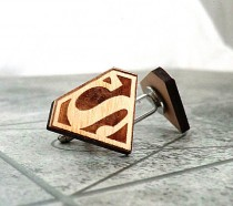 wedding photo - Superman Cufflinks Wooden Cufflinks Groomsmen gift Groomsmen cufflinks Superman gift Valentines gift for him Wedding Gifts for men