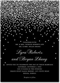 wedding photo - Diamond Sky - Signature White Wedding Invitations In Black Or Smoke