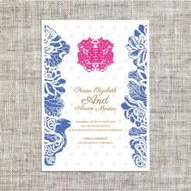 wedding photo - DIY Printable Chinese Wedding / Celebration Invitation Card Template Instant Download_Blue Lotus Chinese Wedding Painting 喜喜Double Happiness
