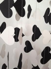 wedding photo - Black, White 10 Ft Heart Paper Garland- Party Decorations, Birthday, Wedding, Bridal Shower, Baby Shower