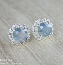 wedding photo - Blue Bridal Earrings,something Blue,dusty Blue Earrings,dusty Blue Wedding,Swarovski Blue Earrings,blue Wedding Jewelry,powder Blue,blue