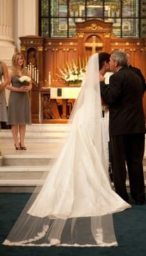 wedding photo - Cathedral veil with lace trim - Nancy