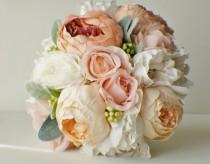 wedding photo - Wedding Flowers, Roses Bridal Bouquet, Silk Wedding Flowers, Roses Hydrangeas Bouquet, Vintage Wedding, Shabby Chic Wedding Bride Bridesmade