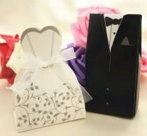 wedding photo - (100 Pieces/lot) Bride And Groom Candy Box For Wedding Day