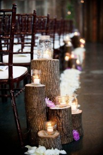 wedding photo - Country Rustic Wedding Theme With Tree Stump