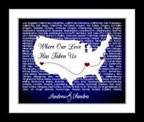 wedding photo - Anniversary Gift US lyrics Map Wall Art Personalized For Couples Who Travel: Song Unique Love USA Wife Husband Him Birthday Gift 8x10 Print