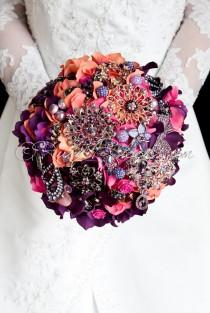 "wedding photo - Gold Autumn Wedding Brooch Bouquet. Deposit - ""Indian Summer"" Fall Wedding Bouquet, Crystal Bridal Broach Bouquet - Ruby Blooms Jewelry"