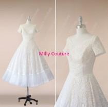 wedding photo - Lace wedding dress vintage short sleeves,1950's Rockabilly Wedding Dress, short lace wedding dress, tulle wedding dress 1950s,