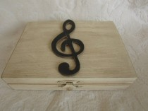 wedding photo - Music Themed Rustic Ivory Stained Aged His Hers Divided Wedding Ring Bearers Box