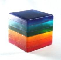 wedding photo - Rainbow Soap Cube - Stripes, Glycerin, Custom Scent, Rainbow, Kids, Fun, Party Favor, Rainbow Party, Pride, Wedding, Baby Shower