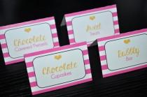 wedding photo - Food Label Cards - Buffet, Candy Labels - Bachelorette, Bridal Shower, Wedding - Pink, Black and Gold Heart Kate Spade Inspired - Set of 12