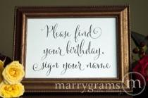 wedding photo - Guest Book Calendar Table Card Sign - Find Your Birthday, Sign Your Name - Wedding Reception Signage Sign in Table- Matching Numbers SS07