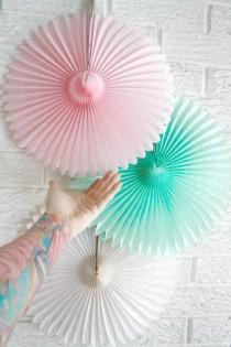wedding photo - Party Decor Paper Fans .... Pick Your Colors // weddings // birthdays// party decorations // candy dessert buffet table  // peach coral aqua