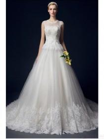 wedding photo - Chapel Train Floor-length O-Neck Wedding Dresses Real Made On Sale (WD0025)