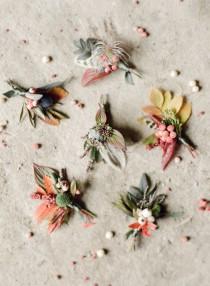 wedding photo - Autumn Heather Inspired Boutonnieres