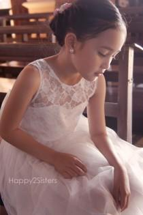 wedding photo - Flower Girls dress, Lace and tulle flower girl dress, Rustic flower girl dress, Ivory flower girl dress, Lace flower girl dress