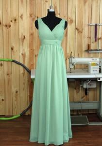 wedding photo - Dusty Shale Bridesmaid dress, Deep V neck V back Dress, Evening dress Wedding dress, Party dress, Long Chiffon Prom dress floor length