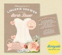 wedding photo - Bridal Shower Lingerie Invitation - Pink Blush Corset Lingerie Shower Invite