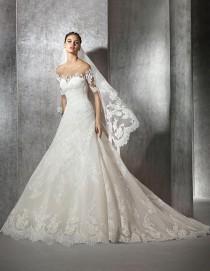 wedding photo - St. Patrick > ZELENY - Lace Wedding Dress With Bateau Neckline