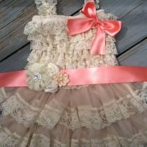 wedding photo - Rustic Flower Girl Dress/Rustic Flower Girl Outfit/Wheat Cream Flowergirl/Country Wedding-Coral Flower Girl-Choose Ribbon Color