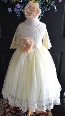wedding photo - Ivory Flower girl Tutu dress, Girls Long Tulle Skirt lace blouse, Ivory lace Skirt blouse set , Girls Tutu, Flower girl dress