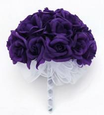 wedding photo - Purple Silk Rose Hand Tie (24 Roses) - Silk Bridal Wedding Bouquet