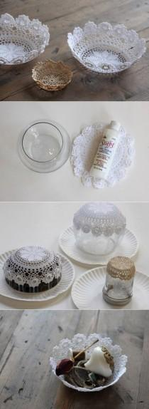 wedding photo - Quick Easy Lace Doily Bowl