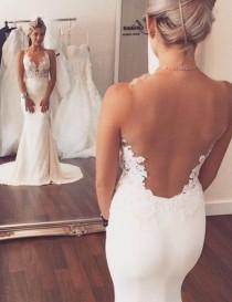 wedding photo - Fashion V-neck Lace Appliques Sheer Back Mermaid Wedding Dress