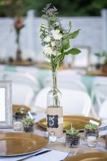 wedding photo - Rustic Wedding Decor - - Rustic Wedding Centerpiece - Barn Wedding Decor - Lace Wedding Decor - Wedding Table Numbers - Bottle Centerpiece