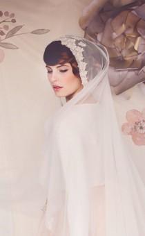 wedding photo - Juliet Cap Veil, Wedding Veil, Juliet cap, Bridal Veil, lace veil, The Hazel Bridal Cap Veil #154